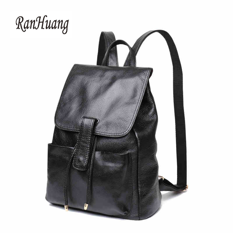 RanHuang Brand High Quality Women Genuine Leather Backpack New 2017 Women s Vintage Backpack School Bags