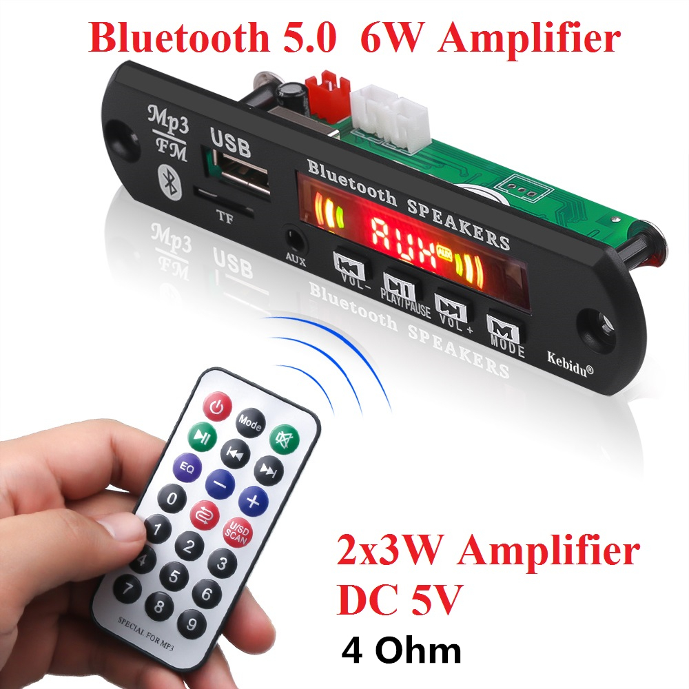 Image 3 - KEBIDU 5V Bluetooth MP3 Player Decoder Board  Color Screen for Car Kit FM Radio TF USB 3.5mm AUX Audio Module Record Hands free-in HiFi Players from Consumer Electronics