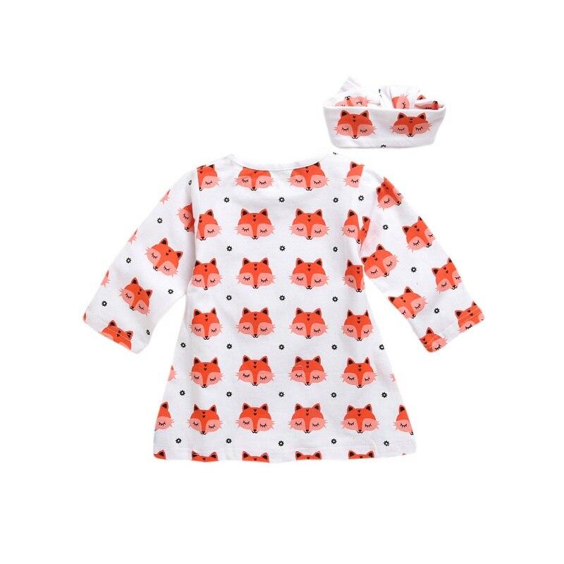 Baby Fox Cotton Printed Bodysuit One-Piece Jumpsuit Tops + Headband Clothing Set Newborn Baby Boy Girl Clothes