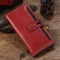 GZCZ Genuine Leather Women Long Wallet Vinraga Red Zipper Luxury Designer Women Card Purse New Female