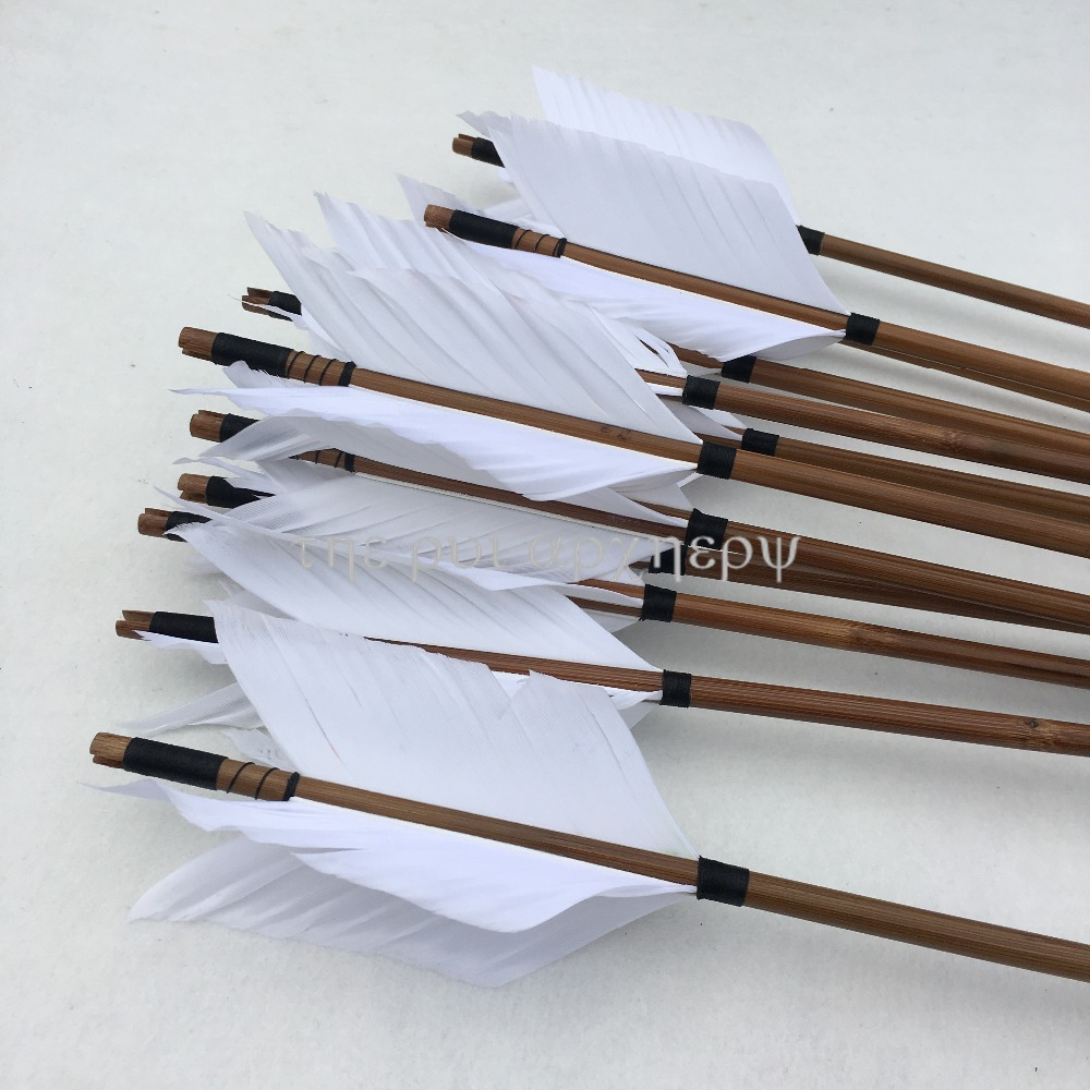 6/12/24pcs Archery Wooden Arrows With  Black Nocks Hunting Target Arrows For Recurve Traditional Longbow