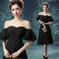 Мода Черный Шелковый Sexy Шифон с плеча Вечернее платье 2016 Новый Леди Формальные Свадьба Платье Половина рукава-Линия платья