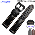 New arrival quality genuine leather watchband 22mm Black brown bracelet quick release for Garmin Fenix Chronos