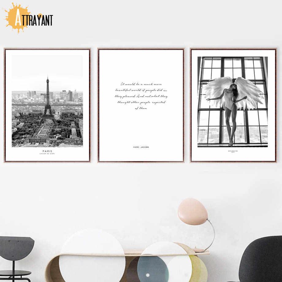 Сексуальная девушка с крыльями ангела Париж башня кавычки Wall Art Холст Картина Nordic Плакаты и отпечатки Стены картинки для Декор в гостиную