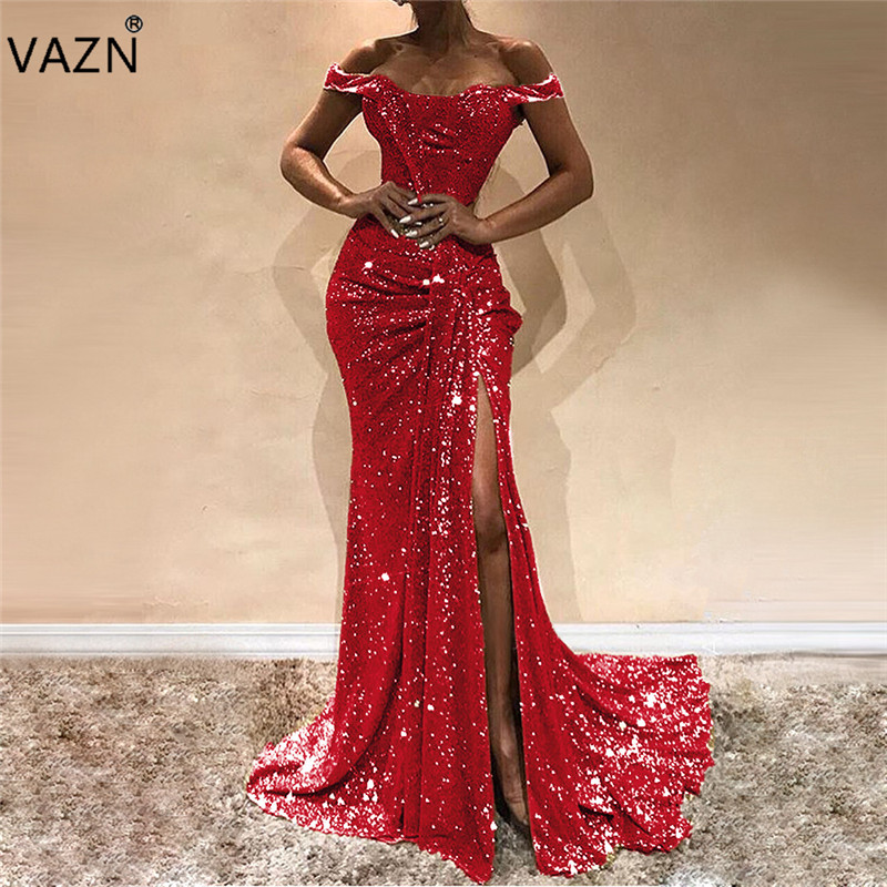 VAZN 2019 Plus Size Sexy ClubYoung Lady Of Note Solid Slash neck Short Sleeve Hollow Out Women Trumpet Maxi Dress SN3948