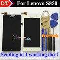 Alta qualidade da tela de toque digitador + display lcd de substituição para lenovo s850 celular 5.0 polegada 1280*720 preto branco livre presentes