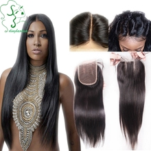7A 3.5X4 Lace Closure Brazilian Straight Closure Virgin Human Hair Closure Bleached Knot Free Middle 3 Part Straight Top Closure