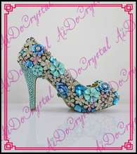Aidocrystal 2016 New Handmade Fashion Blue Wedding Shoes Luxury Rhinestone Stiletto Heel Bridal Dress Pumps