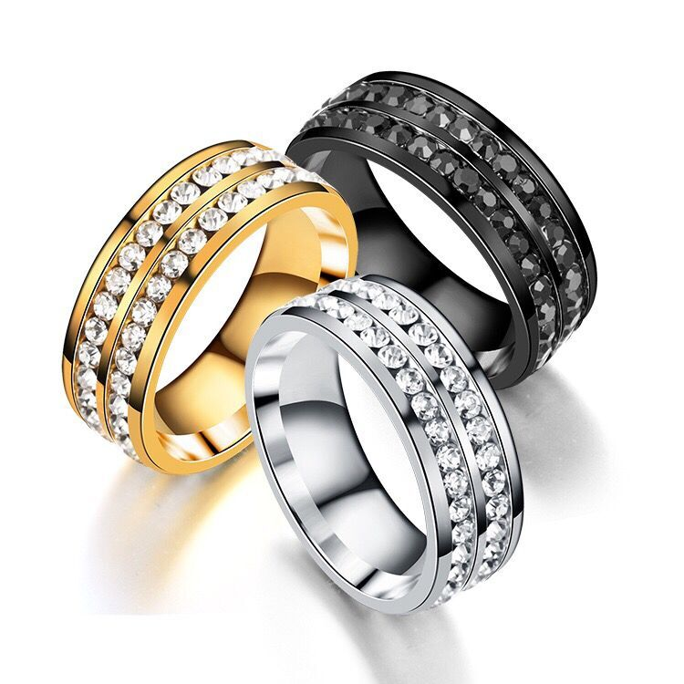 M.G.Fam Double Row Zircon Rings Men jewelry Trendy Titanium Steel Black /Gold/White No Change Color 7/8/9/10/11 titanium ring