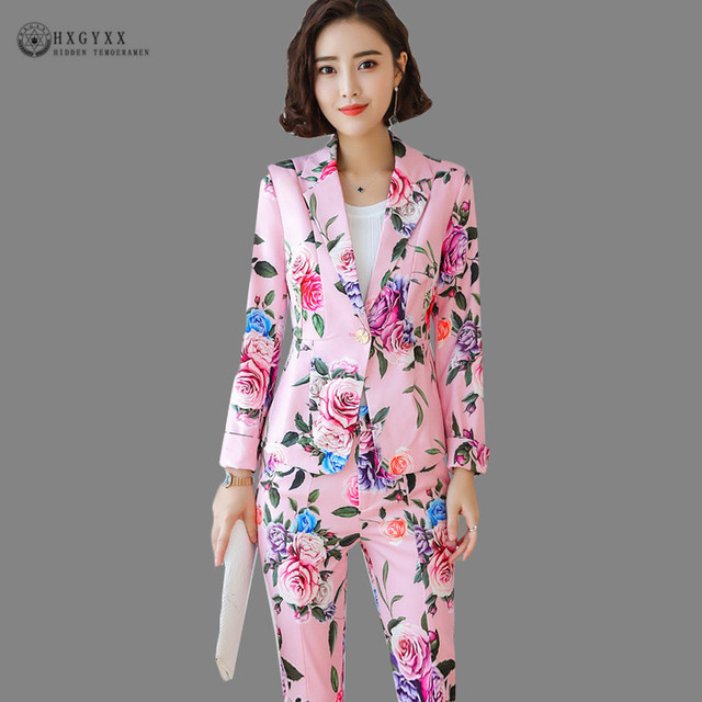 2019 フラワープリント正式なスーツの女性オフィスの女性のブレザーセット OL ブレザージャケット制服長袖中国風のパンツスーツ b133