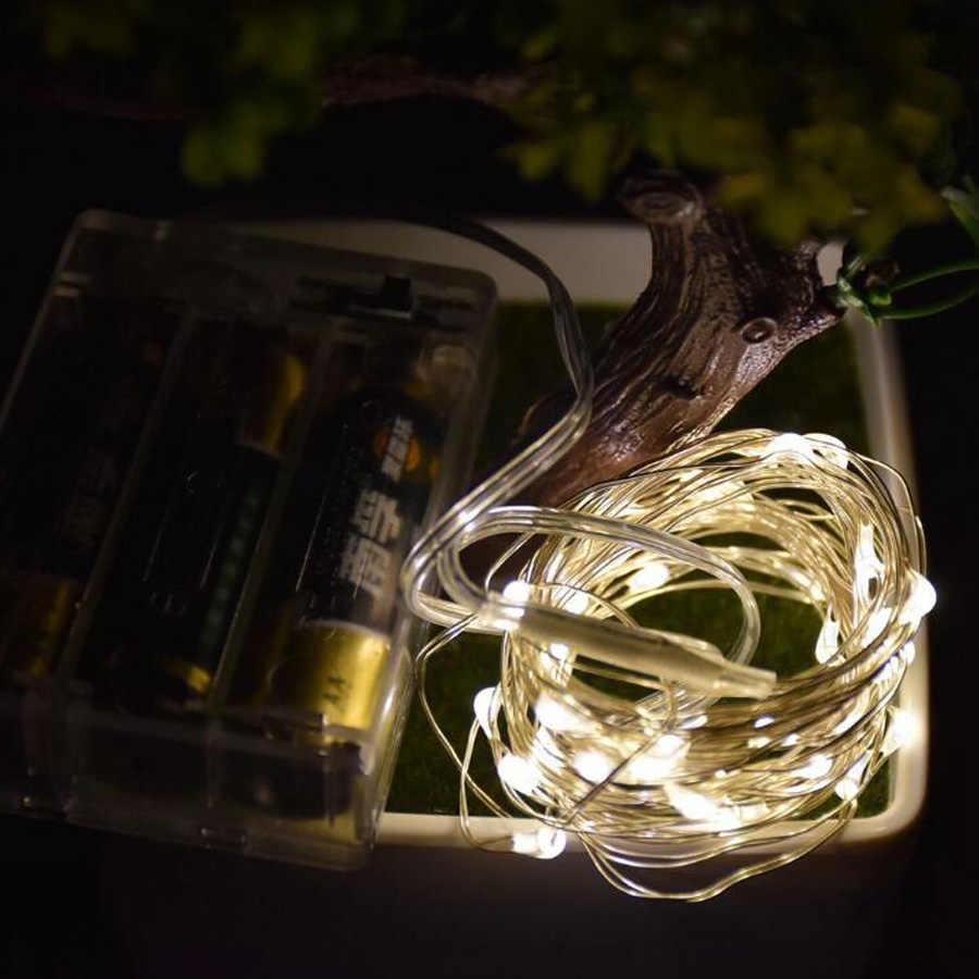 5 м 10 м 12 м 50 100 120 светодиодный S светодиодный медный провод 3XAA с батарейками, Рождественское украшение для свадебной вечеринки, светодиодный гирлянда