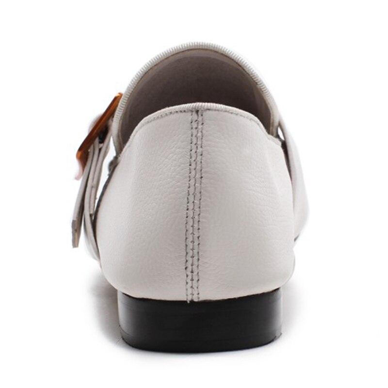 Tacón 40 Gran De Cuero Bolso Genuino Punta Hebilla Zapatos blanco Mujer Vestido Blanco negro Enmayer Beige Bombas 34 Redonda Tamaño Correa Cuadrado 0U7xnZqd