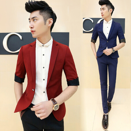 Aliexpress.com : Buy 2015 Prom Slim Fit Men Red Suits Blazers ...