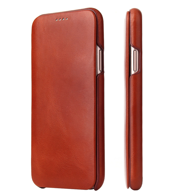 For iPhone X XR Genuine Leather Phone Case Slim Cowhide Cover Business Real Leather Magnetic Smart Cover for Apple iPhone XS Max