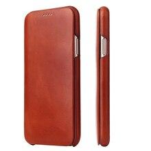 Pour iPhone X XR coque de téléphone en cuir véritable mince peau de vache couverture affaires en cuir véritable magnétique couverture intelligente pour Apple iPhone XS Max