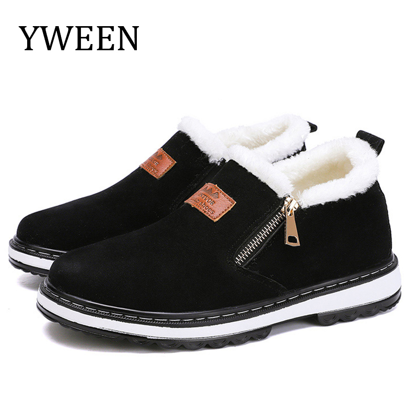 YWEEN New Arrive Mens Boots Designer Winter Shoes Men Warm Short Plush Casual Fur Keep Male