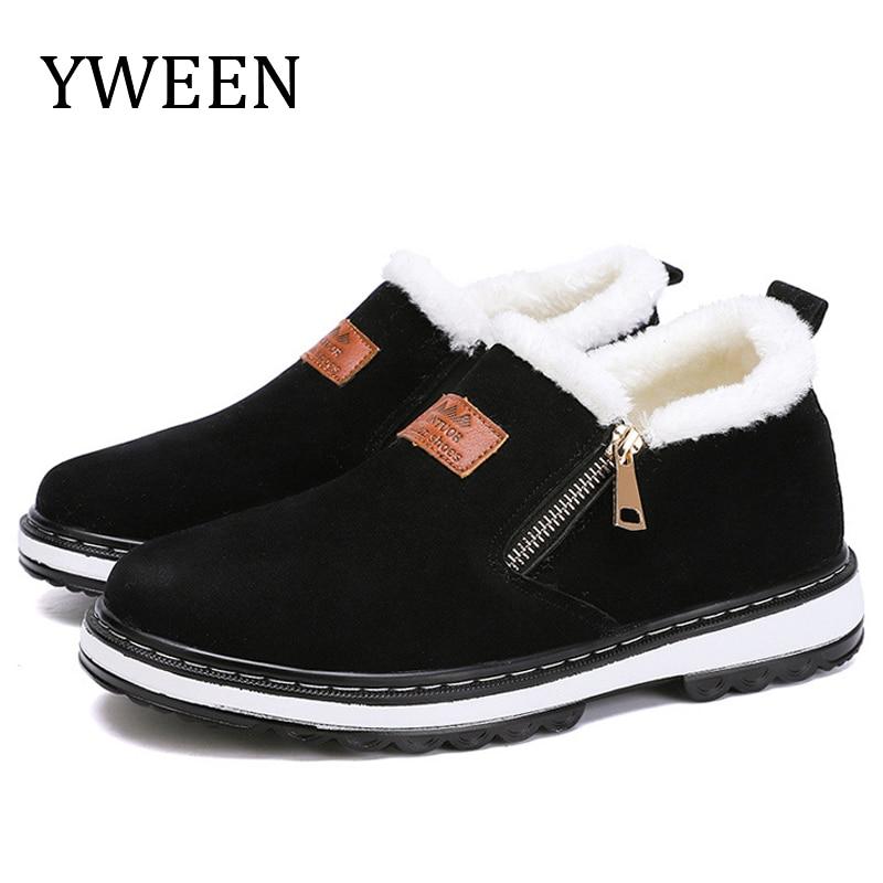 YWEEN New Arrive Men's Boots Designer Winter Shoes Men Warm Short Plush Casual Fur Boots Men New Keep Warm Winter Male Boots