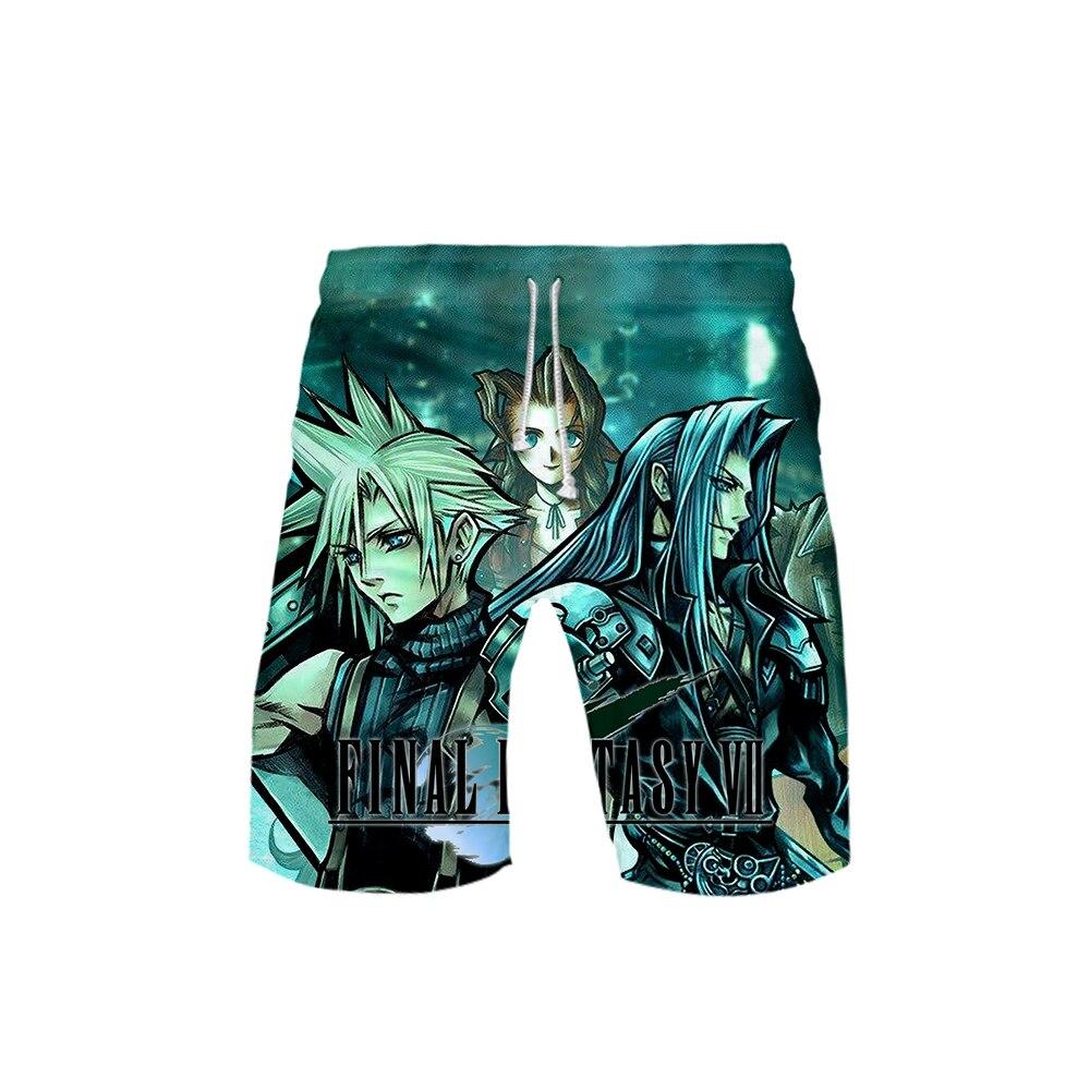 Final Fantasy VII Casual Men Shorts Child Beach Shorts 3D Print FF7 Hot Game Summer Trendy Shorts Elastic Band 4XL