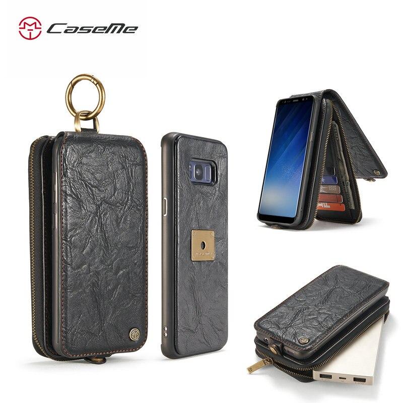CaseMe Leather Case For Samsung Galaxy S8 Plus Detachable Credit Card Zipper Wallet Flip 2 in 1 Magnetic Luxury Wallet Case