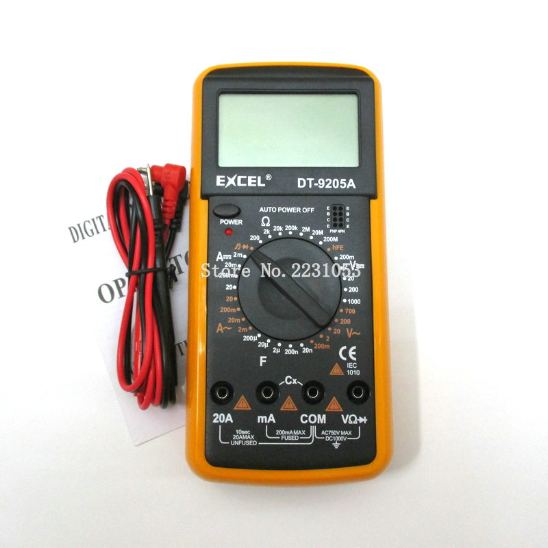 DT9205A AC DC LCD display profesional eléctrica handheld tester medidor multímetro digital multimetro amperímetro multitester
