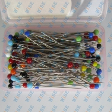 100 COLOR GLASS PEARLIZED HEAD STRAIGHT PINS~40.5mm # GPM-100