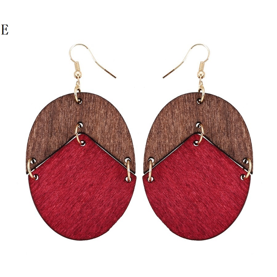 YULUCH 18 New Design Natural Wooden Earrings Two Colors Oval Wooden Earrings DIY Gold Hook Earrings For Woman Girls Jewelry 6