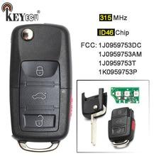 KEYECU 1x/3×315 mhz ID48 Flip Chip 3 + 1 4 Botão Fob Chave Remoto para Volkswagen golf Beetle Passat Eos R32 G * TI Je * tta Coelho CC