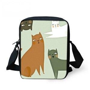 THIKIN lindo gato Print Mini bolso de regalo de mensajero Bolsa de hombro de moda de Mujeres de Cruz cuerpo bolsas con cremallera Bolsa femenina