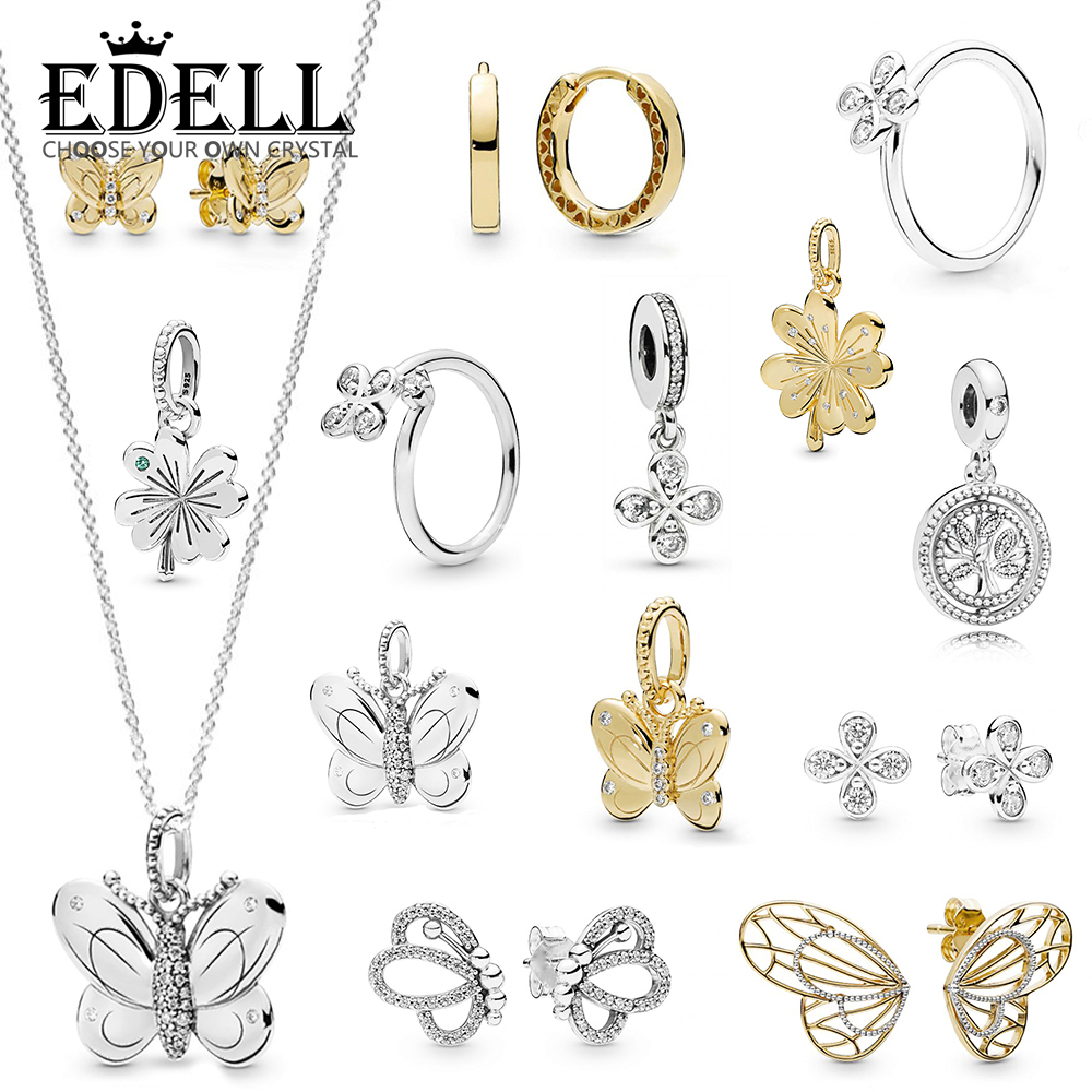 EDELL 100% 925 Sterling Silver New 2019 Early Spring Butterfly Four Petal Flowers Four-leaf Clover Ring Stud Earrings NecklaceEDELL 100% 925 Sterling Silver New 2019 Early Spring Butterfly Four Petal Flowers Four-leaf Clover Ring Stud Earrings Necklace