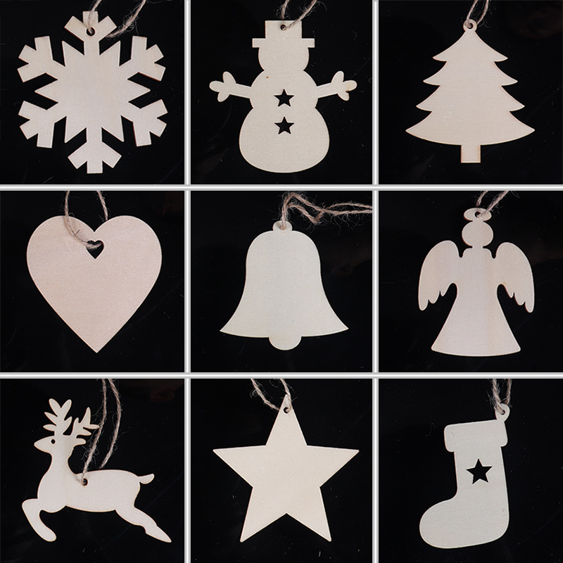 ZOTOONE 10pcs New Christmas Decorations Solid Color Wooden DIY Tree Snowflake Snowman Sock Deer Ornaments E