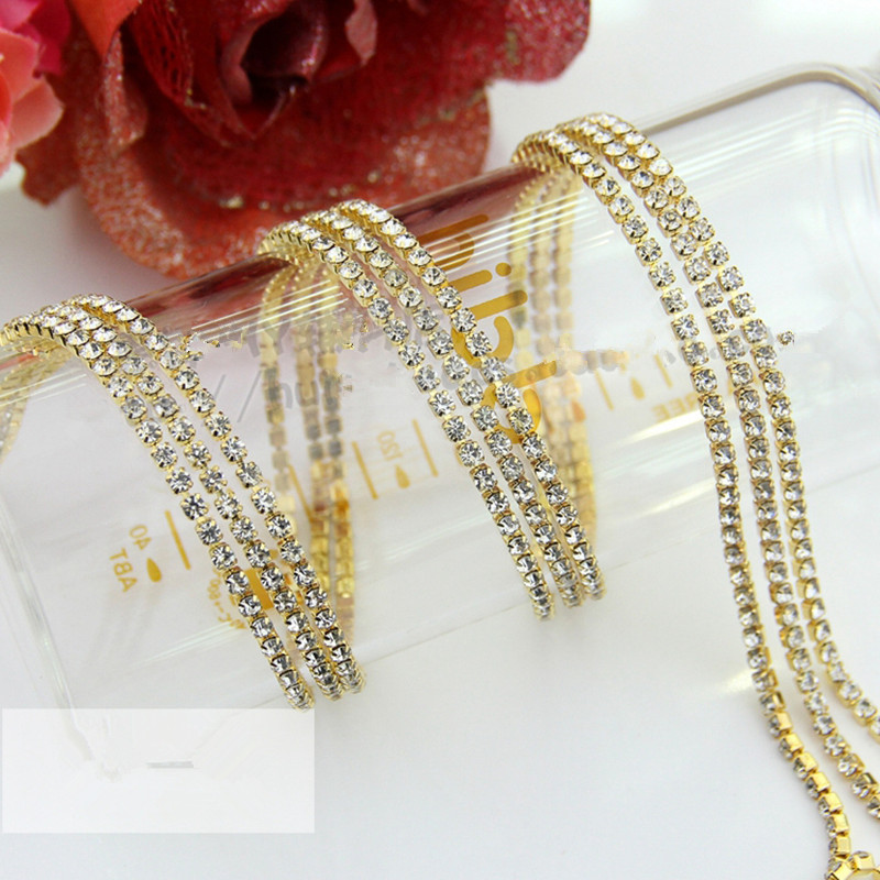 Free Shipping Rhinestone Chain Silver Claw <font><b>6</b></font> Color Each 5 Yard <font><b>Mix</b></font> <font><b>Pack</b></font> Sew on <font><b>Cup</b></font> Chain for Phone Clothing Ornament Accessories