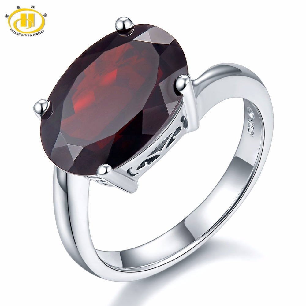 HUTANG 6.02ct Natural Black Garnet Rings Solid 925 Sterling Silver Ring Oval Gemstone Fine Stone Elegant Jewelry Women Gift New