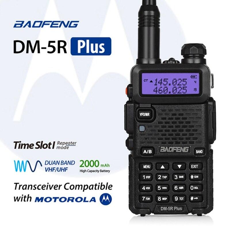 Baofeng DMR DM-5R plus talkie walkie double bande 136-174 mhz 400-470 mhz numérique radio bidirectionnelle DM-5R Plus 1 W 5 W émetteur-récepteur radio