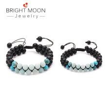 BRIGHT MOON Stone Bracelet Beads Double Row Bracelet Winding Adjustable Handmade Lava Stone Bracelet for Men Women