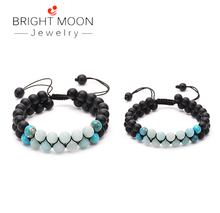 BRIGHT MOON Stone Bracelet Beads Double Row Winding Adjustable Handmade Lava for Men Women