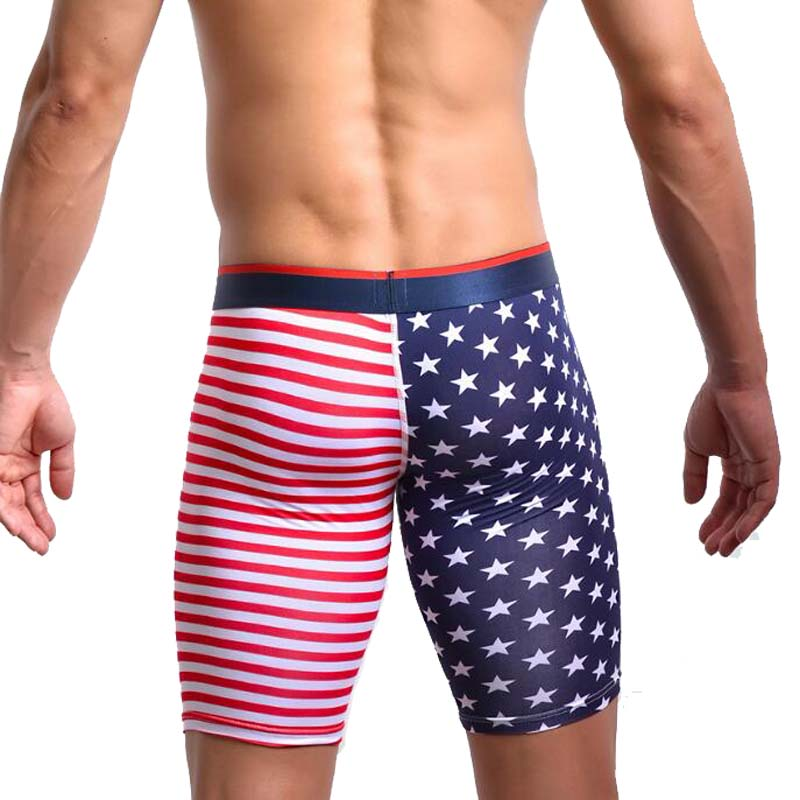 Fashion Brand American Flag Men Sexy Slim Fit Cotton Board Shorts