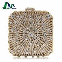 2016 New Women Box Shaped Evening Bag Crystal Handbag Party Clutch Purse Gold