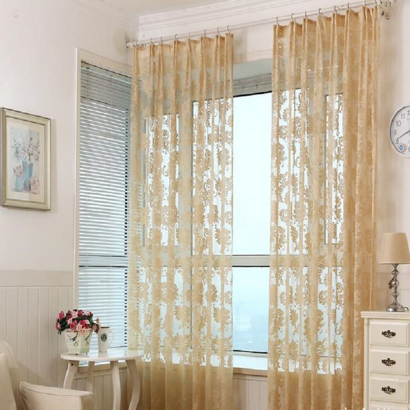 Window Curtain For Living Room Cortinas Drawing Bedroom Modern Drapes Solid Loops Beige Cortinas 1