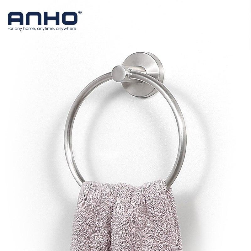 Stainless Steel Wall Mount Towel Ring Bathroom Storage Accessories Round Towel Holder Bathroom Towel Rack Hanger
