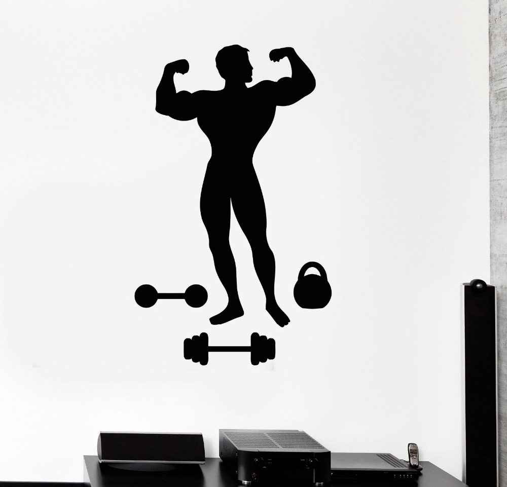 Wall Decal Muscled Man font b Bodybuilding b font font b Fitness b font Gym Sports