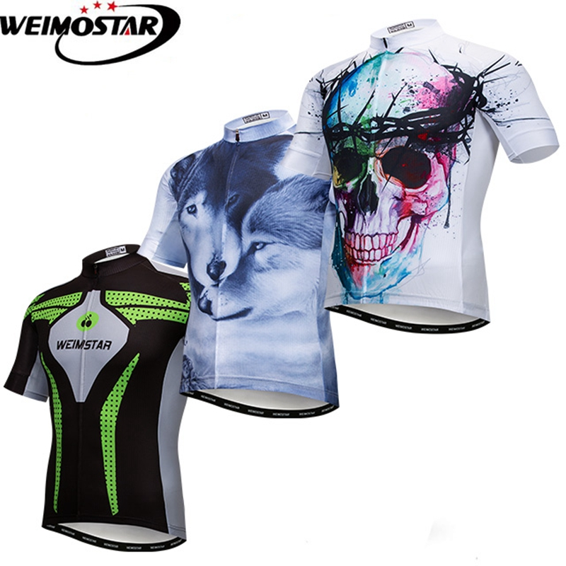 Weimostar 2018 Skull Cycling Jersey Shirt Summer Pro Team MTB Bike Jersey Downhill Bicycle Jersey Short Sleeve Cycling Clothing