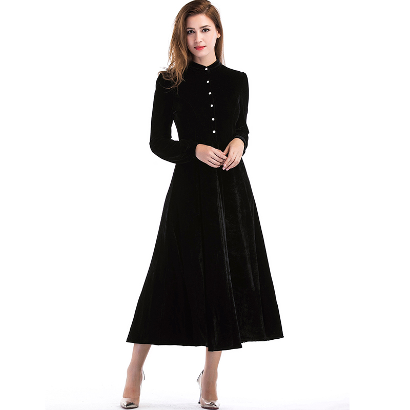 2017 Autumn Winter Dresses Evening Party Velvet Dress For Women Long Sleeve Vintage Black Breasted Long Dresses Vestidos S-XL