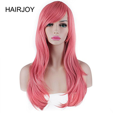 HAIRJOY  Women's Heat Resistant 28-Inch 70cm Long Wavy Pink Synthetic  Hair Wig Free Shipping