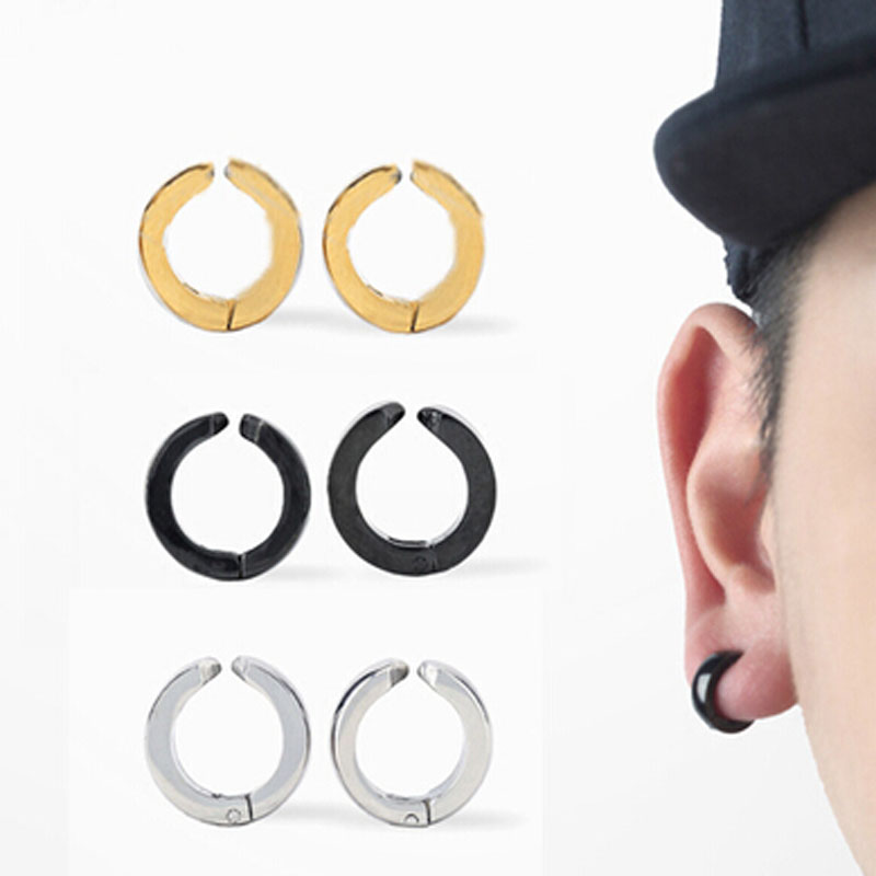 Newest Earring Hoop No Piercer Fake Ring Cuff Ear Clip On Ear Steel Titanium Wide 4mm Black Steel Gold Blue Mens Punk