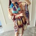 New Brand 2017 Silk Scarf Women Fashion Oil Painting Summer Pashmina Shawl Hot 190cm Big Square Handkerchief Twill Silk Scarf