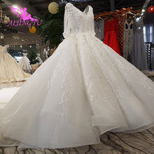 AIJINGYU New Wedding Dresses With Sleeves Vintage Brush For Bride White Corset Exotic Sexy Plain Sell Gown Bridal Veil