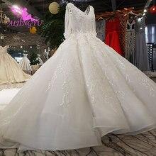 AIJINGYU חדש חתונת שמלות עם שרוולי בציר מברשת לכלה לבן מחוך אקזוטי סקסי רגיל למכור שמלת כלה רעלה