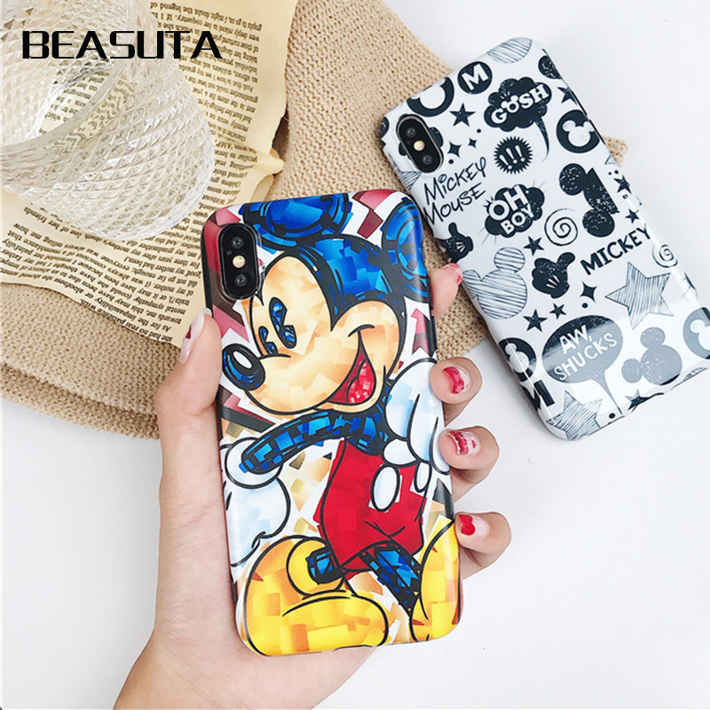 Mickey Minnie Donald Daisy Duck Phone Case For iPhone X 8 7 Plus TPU Cartoon Soft Back Cover For iPhone 7 6s XS MAX cover Shell in Half wrapped Cases from Cellphones Telecommunications