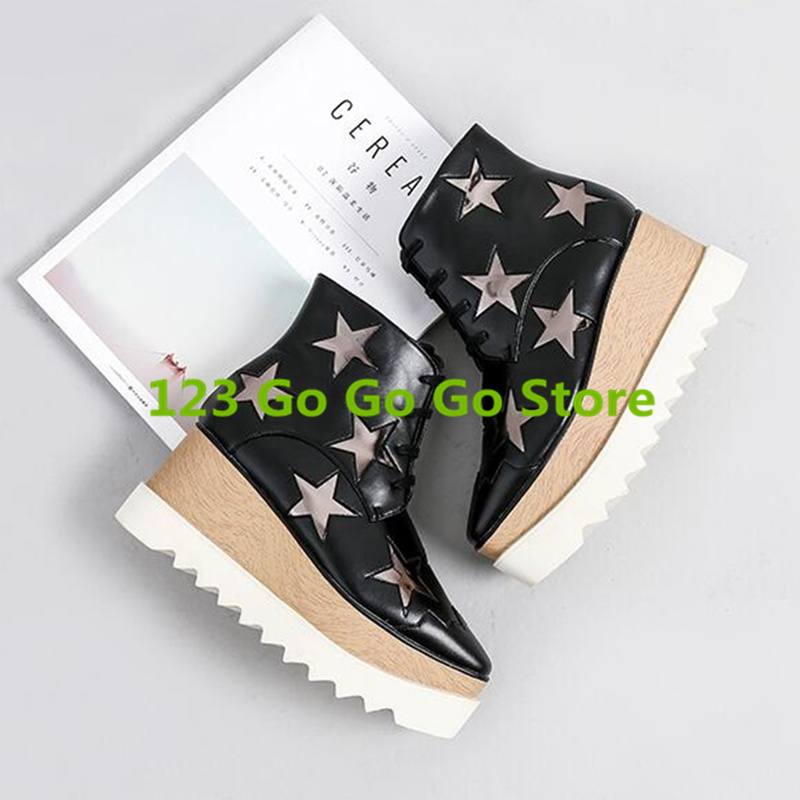 Square Toe Women Ankle Boots Front Lace Up Shoes Wedges Platform Short Booties Star Pattern Decor Flatform Shoes Luxury Brand women sneakers fall front lace up casual ankle boots autumn shoes canvas round toe trend ladies booties 2017 red flat short new