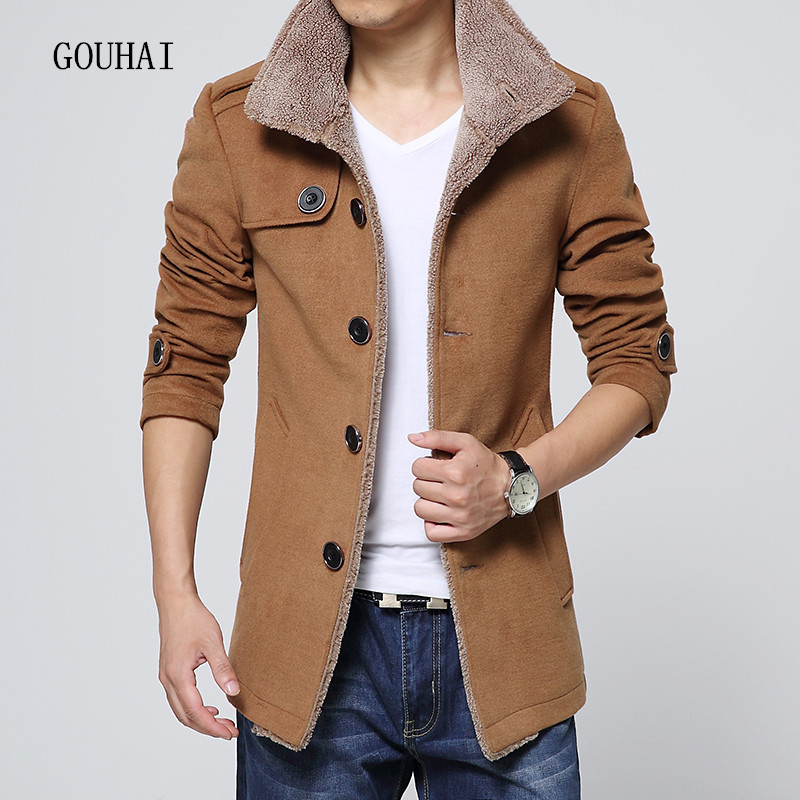 2016 New Fashion Men Jackets Wool Coats Outerwear Stand Collar Plus Size M 4XL Single Breasted